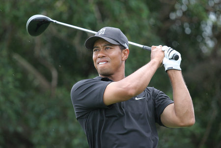 Tiger Woods playing