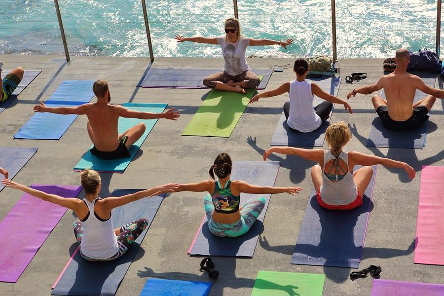 Bigstock yoga by the sea bondi australi